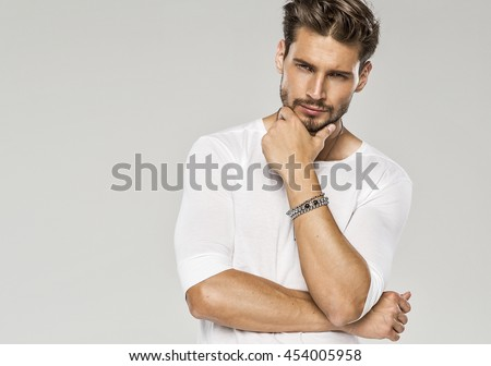 Portrait of sexy man  #454005958
