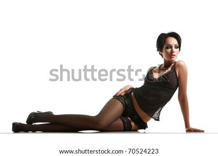 portrait of sexy woman posing in black lingerie