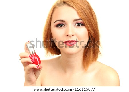 portrait of sexy young woman with red nail polish