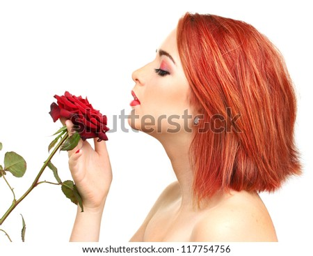 portrait of sexy young woman with red rose isolated on white