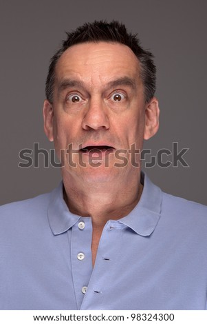 Portrait of Shocked Scared Middle Age Man on Grey Background
