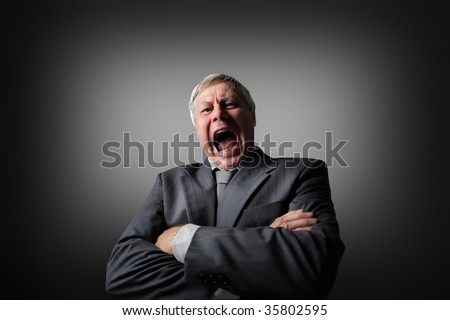 portrait of shouting businessman