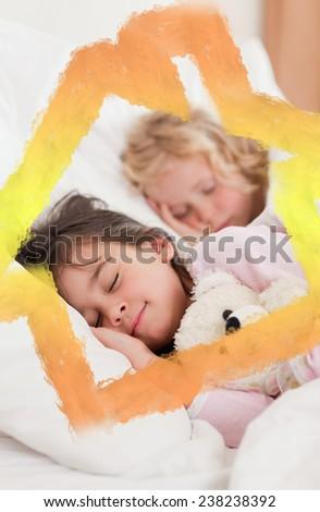 Portrait of siblings sleeping against house outline in clouds