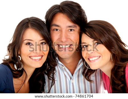 Portrait of siblings smiling - isolated over a white background