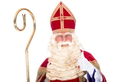 Portrait of Sinterklaas with staff, on a white background