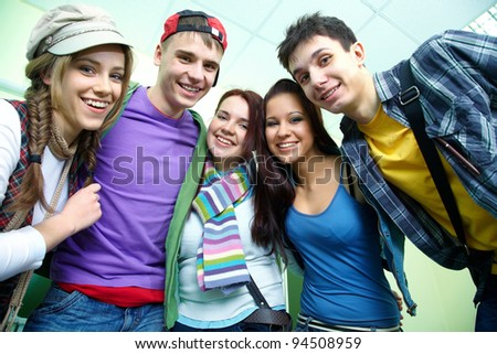 Portrait of six smiling students together