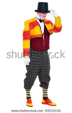 portrait of sly clown. isolated on white background