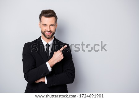 Portrait of smart confident man entrepreneur company owner point index finger suggest select promo adverts advertise ads wear formalwear outfit isolated over grey color background