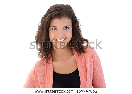 Portrait of smiling attractive schoolgirl, looking at camera. #169947062