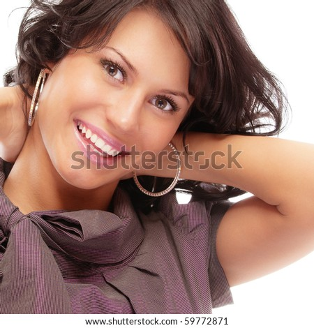Portrait of smiling beautiful woman, isolated on white background.