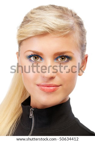 Portrait of smiling blonde close up, isolated on white background.