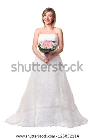 portrait of smiling bride isolated on white - stock photo
