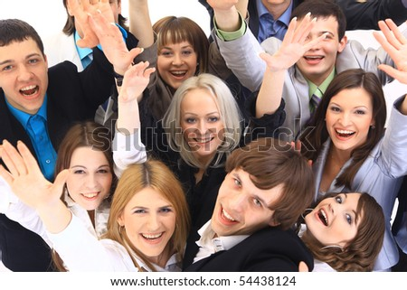 Portrait of smiling business people against white background