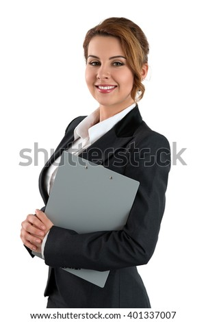 Portrait of smiling business woman holding clipping pad with documents isolated on white background. Female wearing grey formal suit. Business meeting, education, lifestyle and success concept stock photo