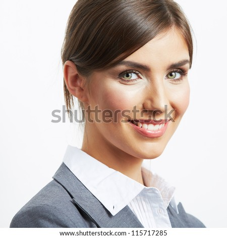 Portrait of smiling  business woman, isolated on white background. Close up