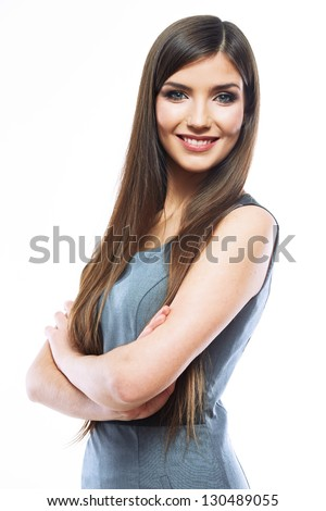 Portrait of smiling business woman, isolated on white background. Female model . #130489055