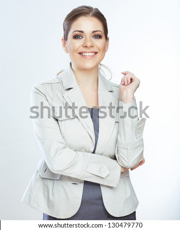 Portrait of smiling business woman, isolated on white background . Young female model .