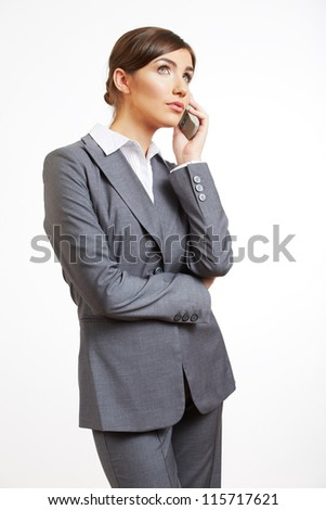 Portrait of smiling  business woman phone talk, isolated on white background