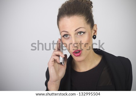 Portrait of smiling business woman phone talking , isolated on white background