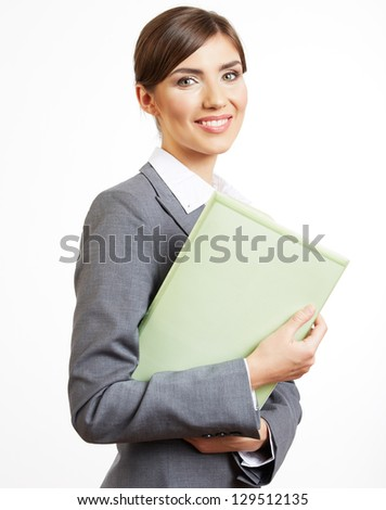 Portrait of smiling  business woman with paper folder, isolated on white background