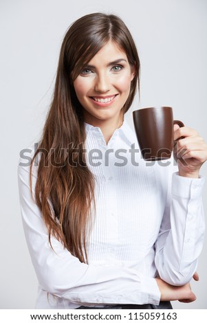 Portrait of smiling  business woman with tea cup. Isolated studio