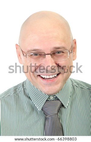 Portrait of smiling businessman isolated on white background