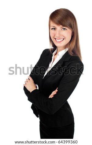 Portrait of smiling businesswoman isolated on white background