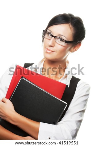 Portrait of smiling busy businesswoman with folder, isolated on white