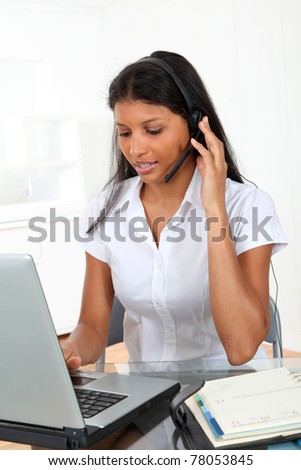 Portrait of smiling customer service operator
