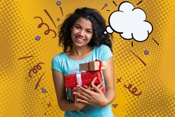 Portrait of smiling cute casually dressed dark skinned girl posing with a bunch of gift boxes in hands isolated over bright colored yellow background. Hand drawn comic pop art style illustrations.