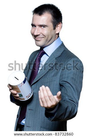 Portrait of smiling expressive handsome businessman on stock market crisis in studio on isolated white background