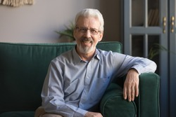 Portrait of smiling grey-haired senior man sit on couch in living room posing for picture at home, happy cheerful elderly male or grandfather wearing glasses look at camera relaxing on cozy sofa