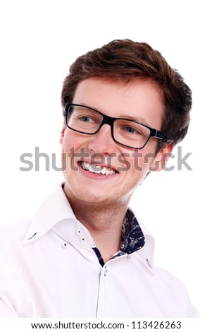 Portrait of smiling guy in glasses over white background