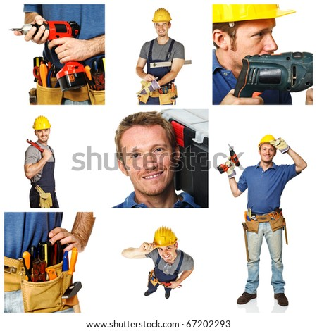 portrait of smiling handyman and works tools detail on white background