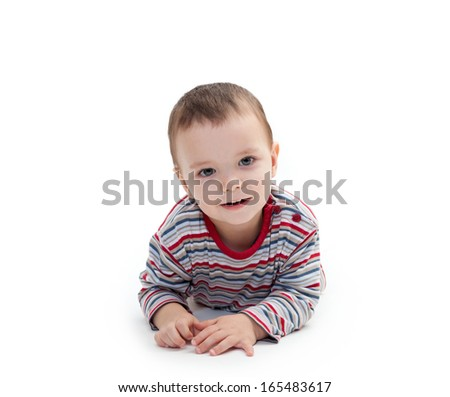 portrait of smiling happy child isolated on white background