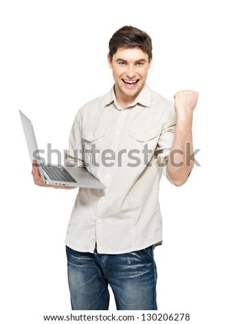 Portrait of smiling happy man with laptop  in casuals - isolated on white. Concept communication. - stock photo
