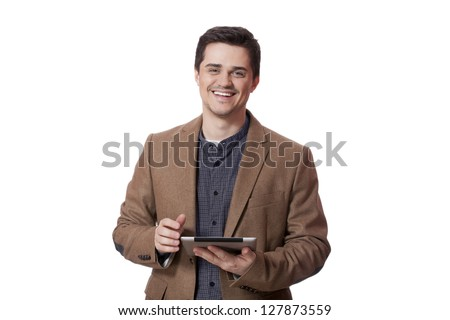 Portrait of smiling man with tablet computer. Isolated.