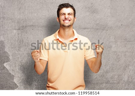 Portrait Of  Smiling Man With The Fists, Outdoor