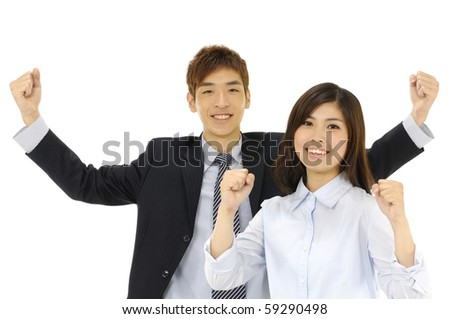 Portrait of smiling mature business man and woman gesturing a thumbs up together