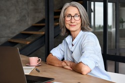 Portrait of smiling Middle age 60s aged business woman working at home office with laptop, headshot of happy woman worker or ceo posing for corporate photoshoot, looking at camera.
