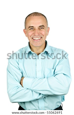 Portrait of smiling middle aged man isolated on white background