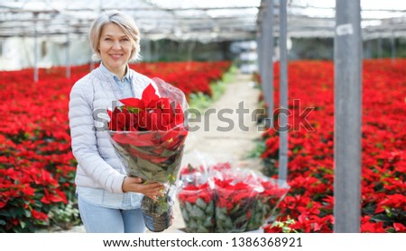 Portrait of smiling middle-aged woman with bought in greenhouse flowering red Poinsettias