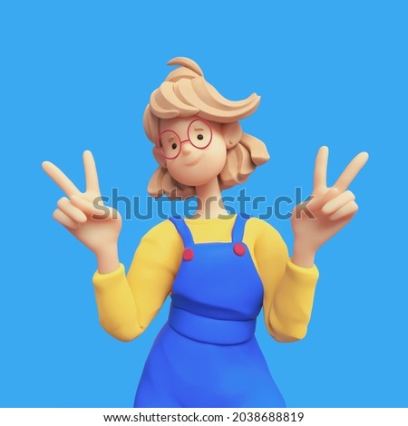Portrait of smiling positive casual blonde girl in red glasses wearing blue apron, yellow t-shirt shows fingers doing peace sign, victory symbol, number two, successful person. 3d render minimal style