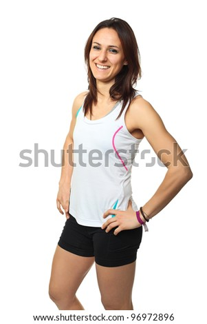 portrait of smiling runner isolated on white background