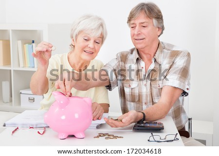 Portrait Of Smiling Senior Couple Calculating Coins In The Pink Piggybank