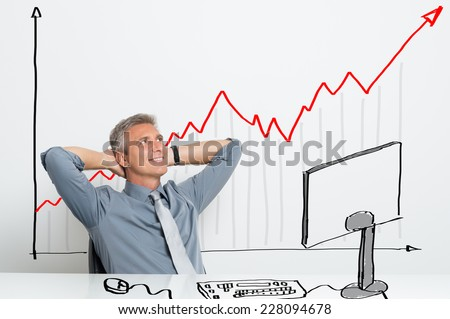 Portrait Of Smiling Successful Businessman With Successful Investment Stock photo ©