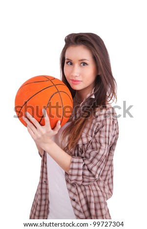 Portrait of smiling teenager holding basketball isolated on a white background