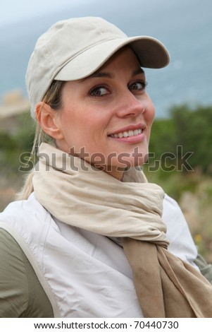 Portrait of smiling woman on hiking day