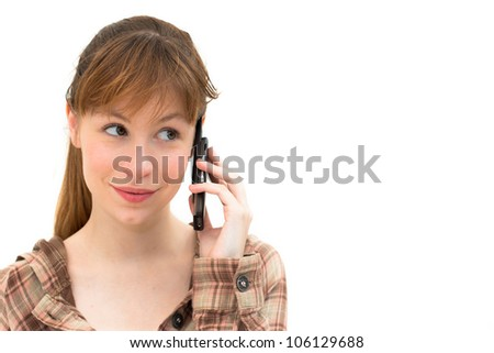Portrait of smiling woman on phone call over white background