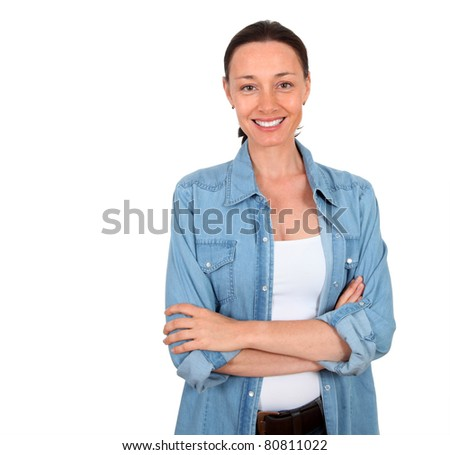 Portrait of smiling woman on white background